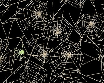 Spider Web Fabric - Halloween Spooky Spider - Pick Your Poison By Dan DiPaolo For Clothworks -  Y2712-03 Black - Priced by the 1/2 yard