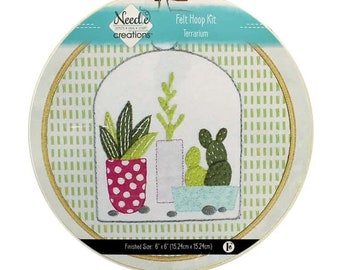 Needle Creations Eazy Peazy Terrarium Felt Hoop Kit - 6-inch hoop - all Inclusive - DIY project