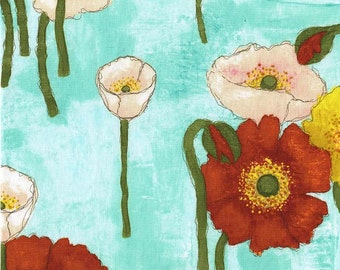Poppy Fabric, Gathered Poppies Vignette - Poppy Collection by Laura Gunn for Michael Miller Fabric CJ 6658 Aqua - Priced by the 1 /2 yard