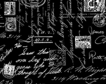 Timeless Treasures Fancy Script Writing -  C8733 Black & White - priced by the half yard