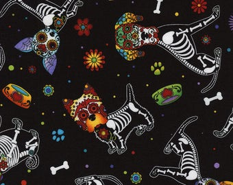 Dog Fabric - Day of the Dead Puppy Fabric Day of the Dead Pet,  Timeless Treasures c4640 black - Priced by the 1/2 yard