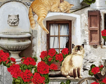 Cat Fabric - Geranium and Cat, Front Porch Cats - Timeless Treasures c 6381 - Priced by the 1/2 yard