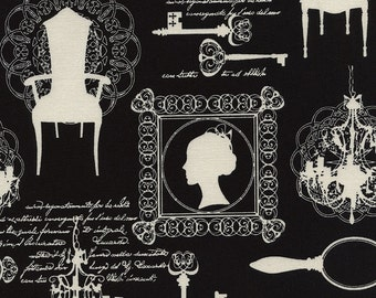 Victorian fabric, Queen Anne Chair - Cameo Silhouette from Fashion Sense - Timeless Treasures C4791 black - Priced by the half yard