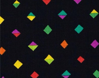 Diamond Fabric, Split Diamond, Sarah Campbell Melodies for Michael Miller Fabric DC 6871 Black Tropics -  Priced by the 1 /2 yard