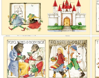 Fabric Book, Storybook -  Classic Fairy Tales by Janet Wecker Frisch - QT Fabric 27022 -  35-Inch Panel - DIY Children's Book