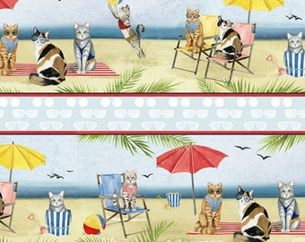 Cat Fabric - Border Stripe Cat Beach Fabric - Summertime Cats - Coastal Kitty by P&B Textiles World Art Group 3064  - Priced by the 1/2 yard