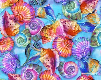 Seashell Fabric - Fabulous Flamingos by Ro Gregg for Paintbrush Studio Fabric - 208941 Blue -  Priced by the half yard