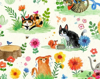 Cat Garden - Catitude Collection by Miriam Bos for Dear Stella - DMB 1671 Cream - Priced by the half Yard