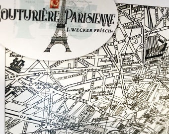 Couturière Parisienne by Janet Wecker Frisch - City Map - City of Paris - Riley Blake C8849 - Priced by the Half Yard