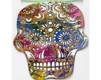 "Sugar Skull Cork - Laser cut Natural Cork Fabric - PMQ Corky Impressions - Fusible backing - Tan with Rainbow - Medium approx 6"" x 5"""