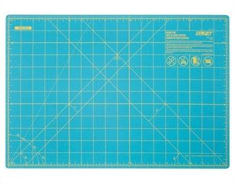 "Olfa Splash Cutting Mat -  Aqua with Yellow Grid - Double sided - 12""x18"""