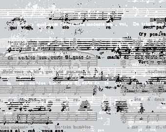 Music Score Fabric -  Paris Travel by Quilter's Palette Collection 13636 Gray - Priced by the 1/2 yard