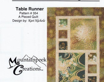Table Runner Pattern - Divided by 3 by Kari Nichols of Mountainpeek Creations 354 - DIY Pattern