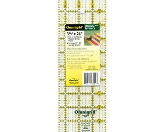 OmniGrid - Rectangle Ruler - OMNR3524 - 3.5-Inch x 24-Inch - Acrylic Ruler - Made in the USA - Sold by the Each