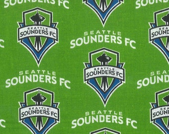 Soccer Team Fabric - Seattle Sounders - MLS by Fabric Traditions 8724 Cotton - Priced by the 1/2 yard - 58-Inch wide