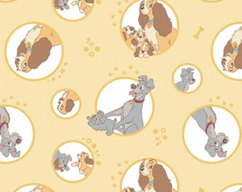 Lady and The Tramp - Dog Fabric - Disney Fabric  - Camelot 85230103-1 Yellow - Priced by the 1/2 yard