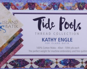Aurifil 40wt thread collection - Tide Pools by Kathy Engle - 40wt, cotton thread, 1094 yards - Twelve (12) spools in the set