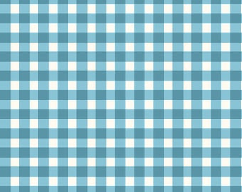 Quilters Road Trip - Gingham Coordinate - Beautiful Basics from Maywood Studio - MAS 610 Q2 Aqua Blue - Priced by the half yard