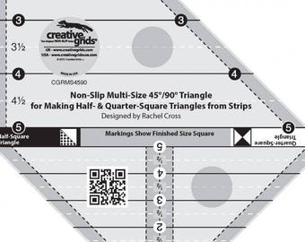 Triangle Ruler, Multi-size 45/90 degree Triangle - Creative Grids by Rachel Cross CGRM 54590 - Acrylic