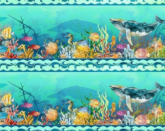 Undersea Border Fabric - Calypso - In The Beginning Jason Yenter - 2CAL 2 Teal - Priced by the 1/2 yard