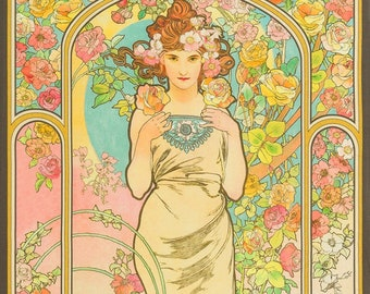 Garden Fabric - The Flowers: Varient 2 Alphonse Mucha 1898 - Kaufman Fabrics - SRKD-18190-238 GARDEN - Priced by the 24-Inch Panel