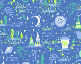 Neverland Fabric, Peter Pan, Lantern, Compass - Jill Howarth for Riley Blake - 6573 Blue - Priced by the half yard