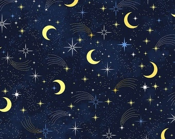 Love You to the Moon and Back - Moon & Stars - Timeless Treasures C8348 Navy - Priced by the half yard