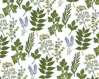 Alice Bouquet Fabric - Spring Floral - Prairie Sisters from Poppie cotton - PS 19010 white - Priced by the 1/2 yard