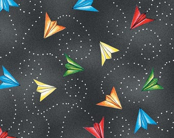 Airplane Fabric, Paper Airplane Fabric - Ready for Takeoff, Renae Lindgren, Wilmington Fabrics - 65188 937 Dk Gray - Priced by the half yard