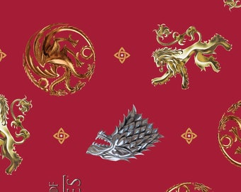 Game of Thrones Fabric, House Fabric - You Win or You Die - Springs Creative SPR64272-D650715 Red - Priced by the 1/2 yard