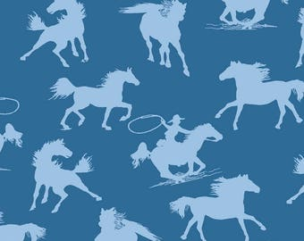 Cowboy Fabric, Rodeo Fabric, Horse Fabric - Riding Westward for Exclusively Quilters  61472 20 Blue - EOB 30-inch