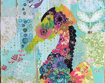 "Seahorse Pattern - Laura Heine - Applique Quilt  - Mini Havana - Seahorse 18""x32"" - DIY Pattern Or Kit Option - full size reusable template"