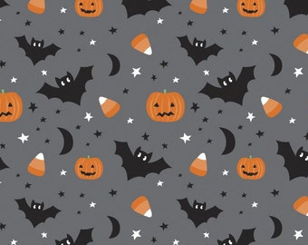 Creepy & Cute Bats and Pumpkins - It's Always Unicorn Season - Puck Selders for Camelot Fabrics 89191102-1 Charcoal - Priced by the 1/2 yard