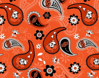 NCAA Oklahoma State Pistol Pete College Collection by Sykel Enterprises - Orange Paisley 1208 Licensed Product -  Priced by the 1/2 yd