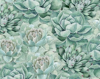 Botanical Oasis - Packed Succulents - By Anne Rowan for Wilmington Prints - 3007 68519 777 Green - Priced by the Half Yard