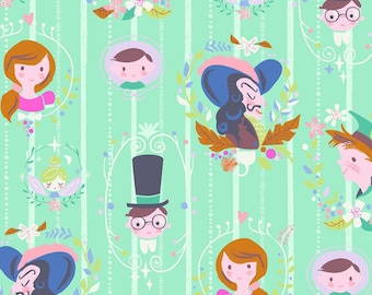 Neverland Fabric, Peter Pan, Darling Wall Portraits - Jill Howarth for Riley Blake - 6571 Mint - Priced by the half yard