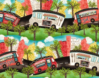 Food Truck Fabric, Food Carts Fabric - Artist License Food Truck Friday - Springs Creative 124655 16097 - Priced by the 1/2 yard