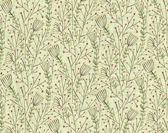 Blend Fabrics - Lace Flowers Winter News by Cori Dantini - 112.117.05.1 Green - Priced by the 1/2 yard