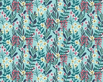 Hanna Floral Spray Fabric - Floral Pet by Mia Charro - Blend Fabrics 129 101 05 2 Aqua - Priced by the 1/2 yard