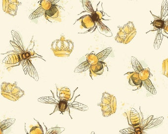 Bee Fabric, Honey Bee, Queen Been - Bee My Sunshine - Windham Fabrics -  43317 3 Cream - Priced by the half yard
