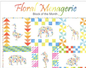 "Floral Menagerie Quilt Kit - All the fabrics to create a 73"" x 97"" quilt top - practice patchwork and applique"