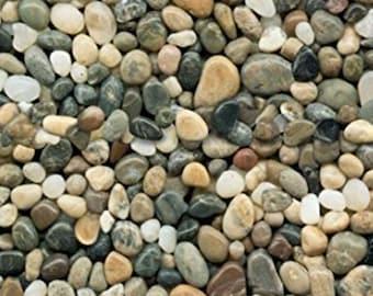Pebbles Fabric - River Rock Fabric - Landscape Medley - Elizabeth's Studio - 291 Gray Tan - Priced by the Half Yard