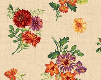 Fall Flowers - Autumn Bouquet - Autumn Abundance by Jennifer Brinley - Studio E - 3341 44 Cream - Priced by the half yard