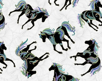 Horse Fabric - Horsen Around by Ann Lauer for Benartex - 6855M White - Priced by the Half Yard