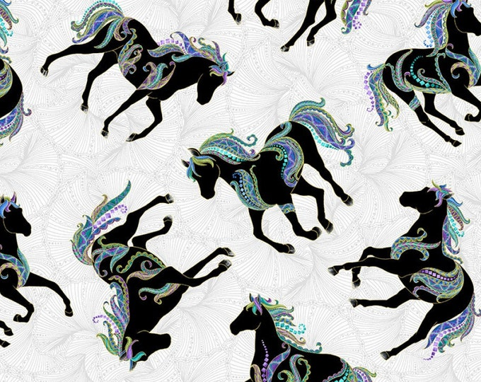 Featured listing image: Horse Fabric - Horsen Around by Ann Lauer for Benartex - 6855M White - Priced by the Half Yard