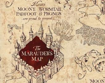 Harry Potter Map - Wizarding World - Marauders Map - Camelot Fabric - COTTON - Cream & Burgundy  2380019-1 - end of bolt options