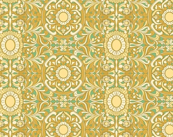 Tucson Filigree, Tucson Fabric - Florabelle Collection Joel Dewberry - Free Spirit PWJD148 Mustard - Priced by the Half yard
