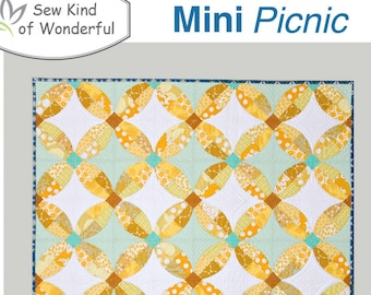 Mini Picnic, Mini 4-Patch Wall Hanging Pattern featuring Mini Quick Curve Ruler - Sew Kind of Wonderful By Jenny Pedigo SKW506 - DIY Pattern