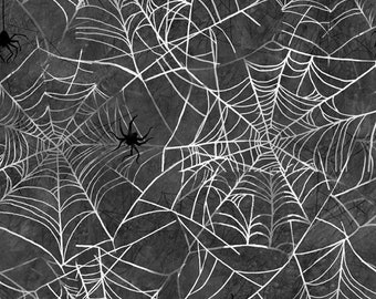 Ghost Party Spiderweb from 3Wishes Fabric -  16640 Charcoal White - priced by the half yard