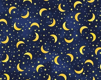 Love You to the Moon and Back - Crecent Moon & Stars - Timeless Treasures C8344 Navy - Priced by the half yard